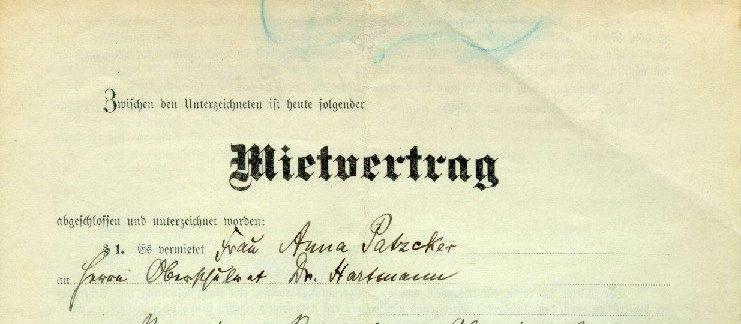 Mietvertrag 1911 Ausschnitt